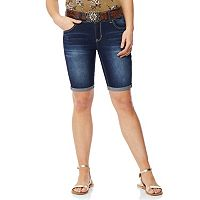 Juniors' Wallflower Luscious Curvy Belted Bermuda Shorts