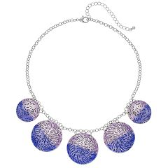 Purple Textured Disc Necklace