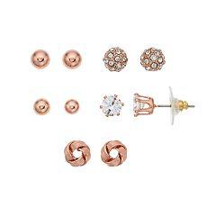 Cubic Zirconia Nickel Free Stud Earring Set