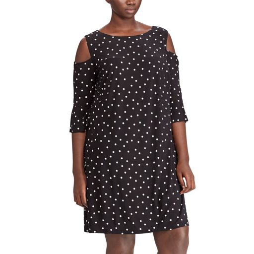 Plus Size Chaps Cold-Shoulder Shift Dress