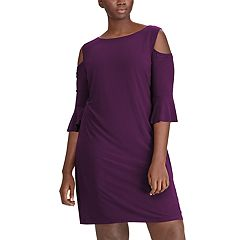 Plus Size Chaps Cold-Shoulder Shift Dress