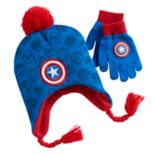 Captain America Hat & Gloves Set - Boys 4-20