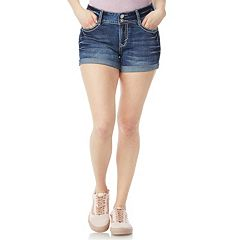 Juniors' Wallflower Bling Luscious Curvy High-Waisted Denim Shortie Shorts