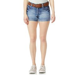 Juniors' Wallflower Luscious Curvy High-Waisted Belted Denim Shorts