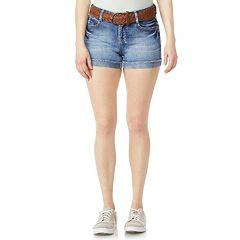 Juniors' Wallflower Luscious Curvy High-Waisted Belted Denim Shorts