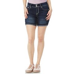 Juniors' Wallflower Bling Luscious Curvy High-Waisted Midi Denim Shorts