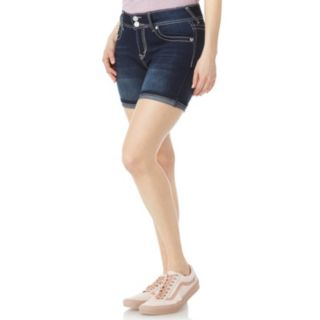 Juniors' Wallflower Bling Luscious Curvy High-Waisted Midi Denim Shorts