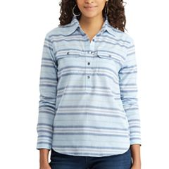 Women's Chaps Striped Chambray Shirt