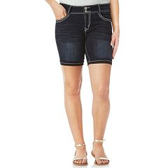 Juniors' Wallflower Bling Luscious Curvy Mid-Rise Denim Bermuda Shorts