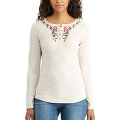 Women's Chaps Floral Embroidered Henley