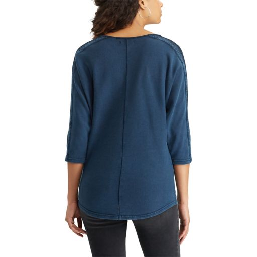 Women's Chaps Lace-Trim Boatneck Tee