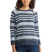 Women's Chaps Striped Button-Shoulder Sweater