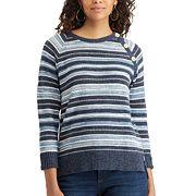 Women's Chaps Striped Button-Shoulder Sweater