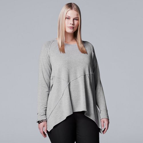 Plus Size Simply Vera Vera Wang Seam Shark-Bite Top