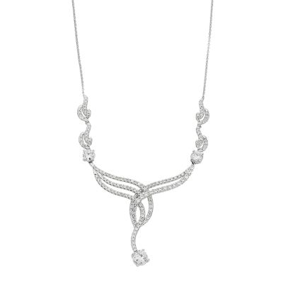 Forever Brilliant 14k White Gold 3 1/2 Carat T.W. Lab-Created Moissanite Necklace