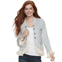 Juniors' About A Girl Ruffled Military Jacket