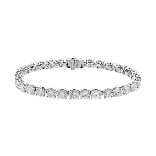 Forever Brilliant 14k White Gold 16 Carat T.W. Lab-Created Moissanite Tennis Bracelet