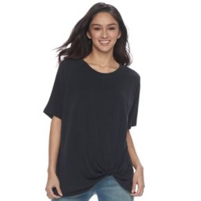 Juniors' Miss Chievous Knot-Front Tunic Tee