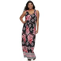 Juniors' Plus Size Three Pink Hearts Cross Front Maxi Dress