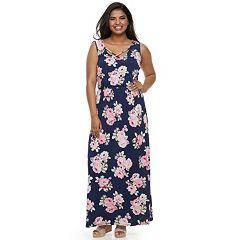 Juniors' Plus Size Three Pink Hearts Cross Front Maxi Dress