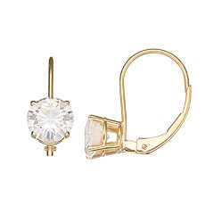 Forever Brilliant 14k Gold 2 Carat T.W. Lab-Created Moissanite Leverback Solitaire Earrings