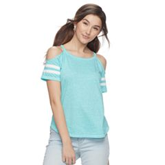 Juniors' SO® Varsity Cold-Shoulder Tee