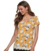 Juniors' Rewind Crochet-Hem Cross-Back Tee