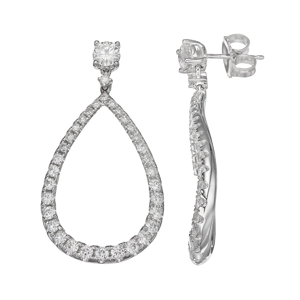 Forever Brilliant 14k White Gold 1 3/4 Carat T.W. Lab-Created Moissanite Wavy Teardrop Earrings