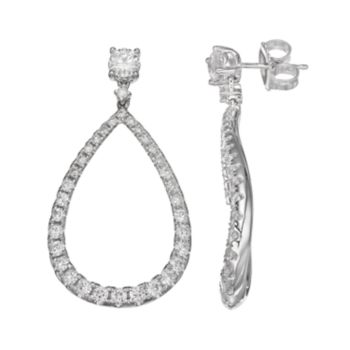 Forever Brilliant 14k White Gold 1 3/4 Carat T.W. Lab-Created Moissanite Wavy Teardrop Earrings