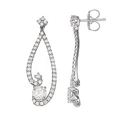 Forever Brilliant 14k White Gold 1 7/8 Carat T.W. Lab-Created Moissanite Drop Earrings