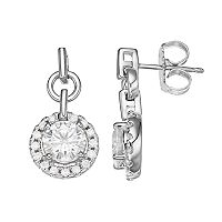 Forever Brilliant 14k White Gold 1 9/10 Carat T.W. Lab-Created Moissanite Halo Drop Earrings