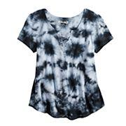 Girls 7-16 Mudd® Tie-Dye Swing Lace-Up Top