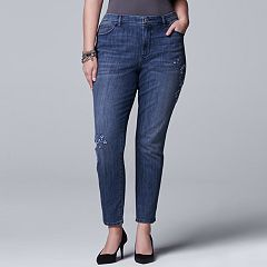 Plus Size Simply Vera Vera Wang Embroidered Skinny Jeans