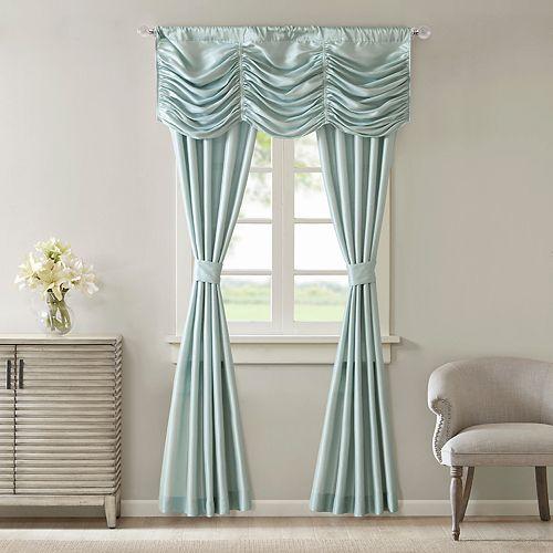 Madison Park Giselle Faux Silk 5 Piece Window Curtain Valance Set
