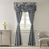 Madison Park Giselle Faux Silk 5-piece Window Curtain & Valance Set
