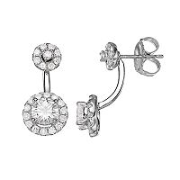 Forever Brilliant 14k White Gold 1 1/2 Carat T.W. Lab-Created Moissanite Halo Drop Earrings