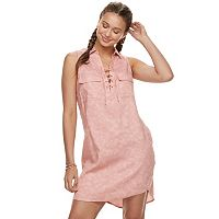 Juniors' SO® Lace-Up Collared Shirt Dress