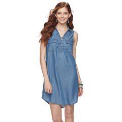 Juniors' SO® Dot Lace-Up Chambray Shirt Dress