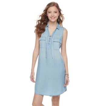 Juniors' SO® Lace-Up Chambray Shirt Dress