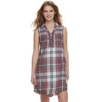 Juniors' SO® Lace-Up Plaid Shirt Dress