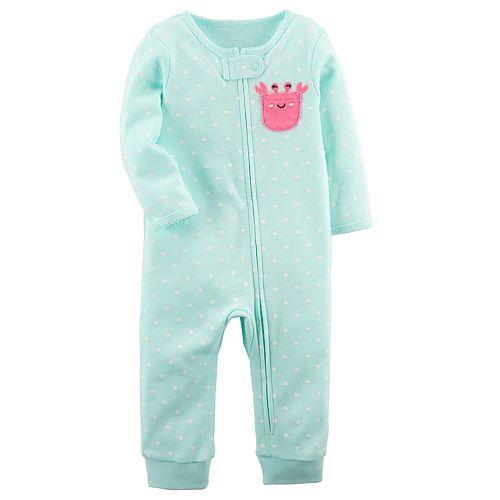 Baby Girl Carter's Crab Polka-Dot Footless One-Piece Pajamas