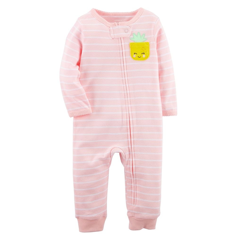 d16802bd14af Baby Girl Carter s Pineapple Striped Footless One-Piece Pajamas