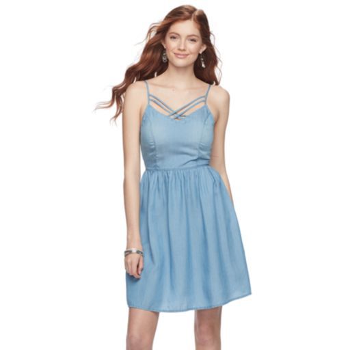 Juniors' SO® Criss-Cross Chambray Skater Dress