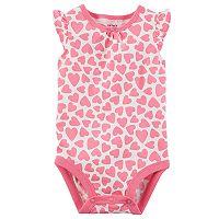 Baby Girl Carter's Pink Hearts Flutter Sleeve Bodysuit