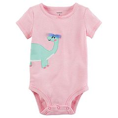 Baby Girl Carter's Dinosaur Striped Bodysuit