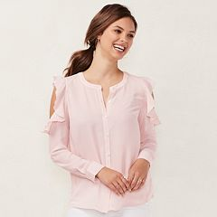 Women's LC Lauren Conrad Ruffle Cold-Shoulder Blouse