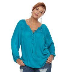 Plus Size Jennifer Lopez Lace-Up Top