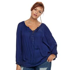 Plus Size Jennifer Lopez Lace-Up Top