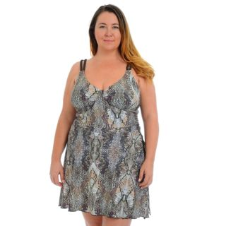 Plus Size Cyn and Luca Snakeskin Sarong Swimdress
