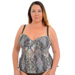 Plus Size Cyn and Luca Snakeskin Molded Tankini Top